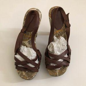Zara Brown Color Leather Platform Size 38
